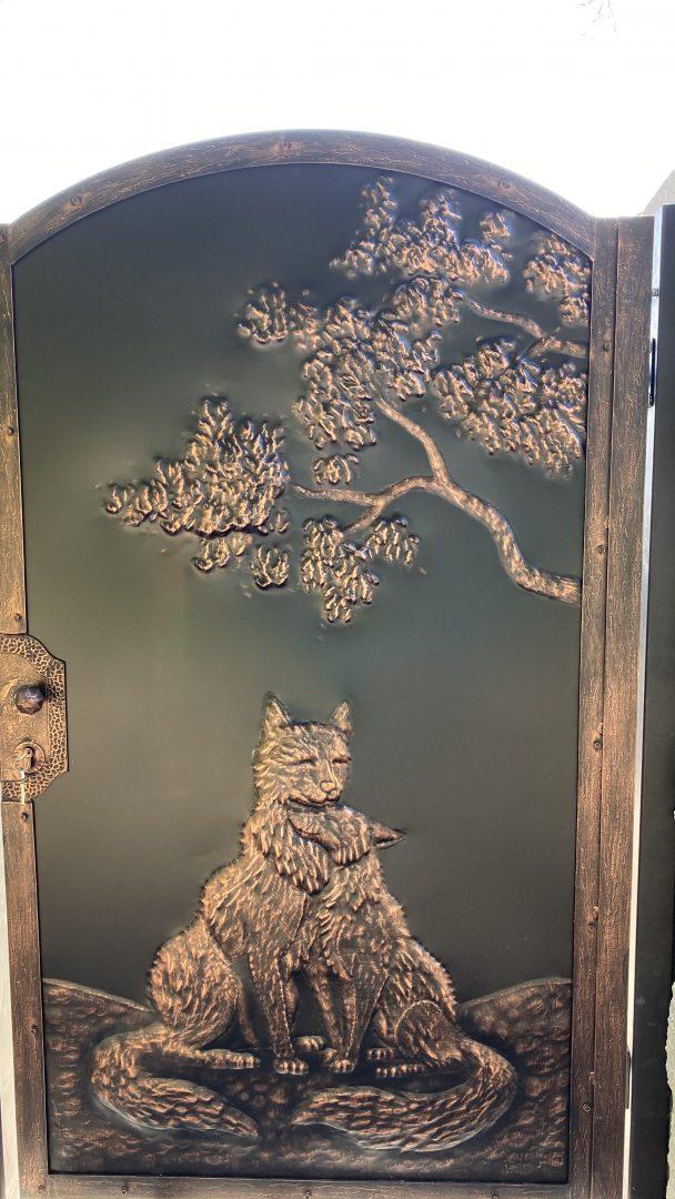 Helius.sk - kovaná brána plná - Vlk a Líška